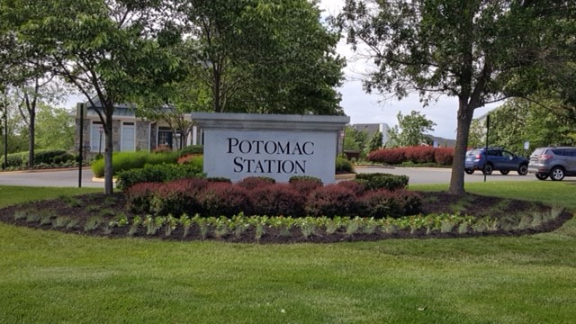 Potomac Station monument sign after landscape renovation