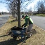 Mulching on Battlefield Parkway